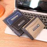 Mens Short Canvas Casual Wallet With Coin Zipper