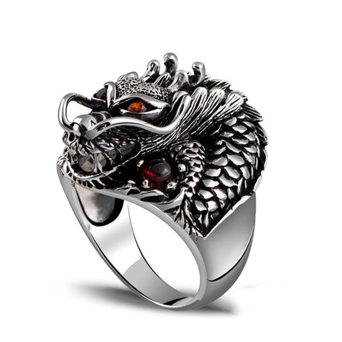 100% Real 925 Sterling Silver Powerful Dragon Vintage Ring