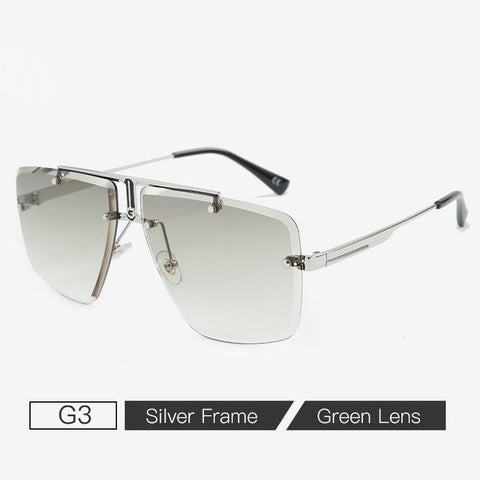 Trendy Square Rimless Men Sunglasses Luxury 2020