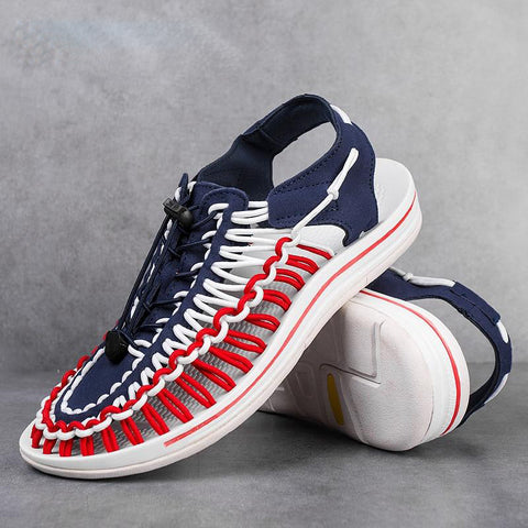 Summer Big Size Men Sandals Fashion Handmade Weaving Design Breathable Casual