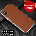 For IPhone X XS Max Case Genuine Leather + Metal Protection