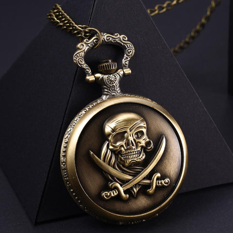 Bronze Vintage Antique Pirates Skull Quartz Pocket Watch