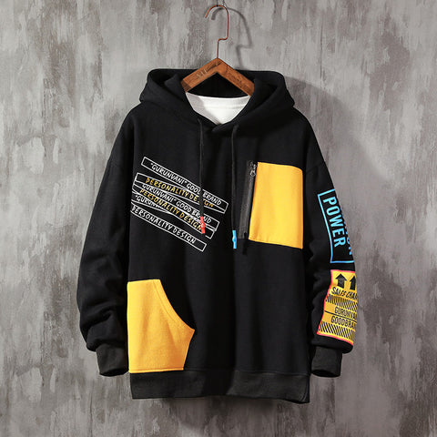 Autumn Color Block Patchwork Hoodie