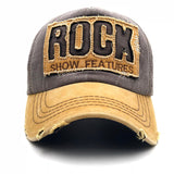 High Quality Letter ROCK Embroidery Cotton Baseball Cap For Men Women