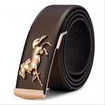 Hot Design Luxury High Grade Genuine Leather Gold Horse Buckle Belt