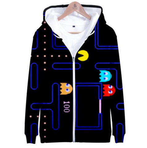 3D PACMAN Zipper Irregular Hoodie for Men Streetwear