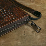 Genuine Leather Crocodile Head Clutch Wallet