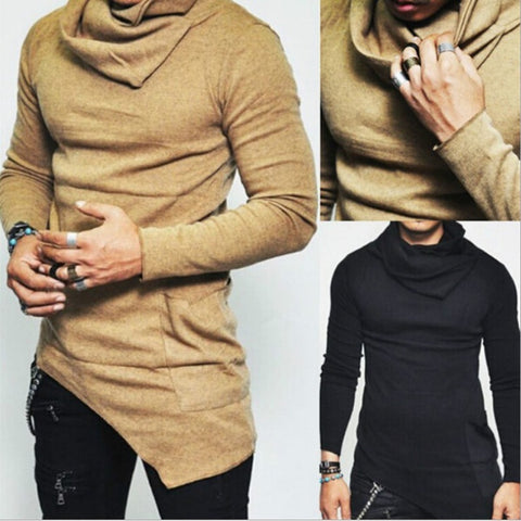 Men's High Necked Solid Color Casual Sweater Irregular Design