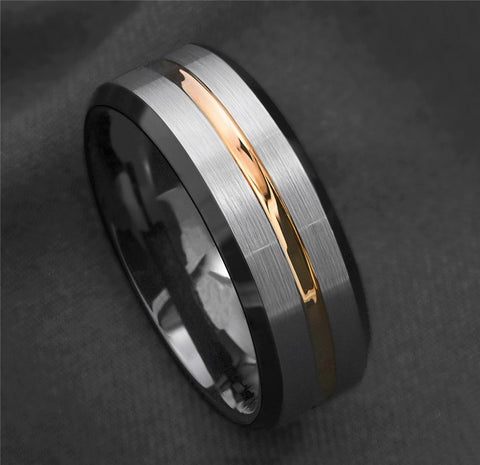 Fashion Simple Silver Black Gold Stripes Casual Sporty Ring