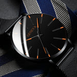 2020 Minimalist Men's Business Fashion Stainless Steel Ultra Thin Quartz Watches