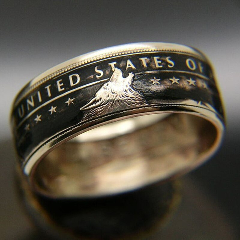 Vintage The United State of American 1778 Coin Wolf Carved Ring