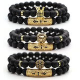 Classic Matte Black Natural Stone Bead Man