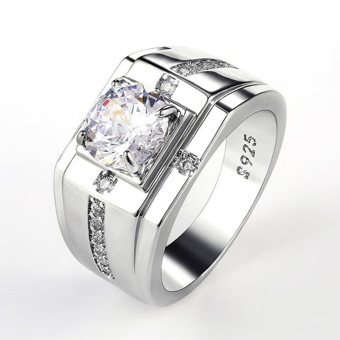 Luxury Silver Color Round Cubic Zircon Rings for Men