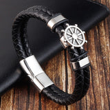 Black Genuine Leather Bracelet for Men Punk Braided Rope Steel Magnetic Button