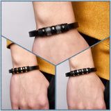 Magnetic Clasp Stainless Steel Charms Beads Leather Bracelets For Men