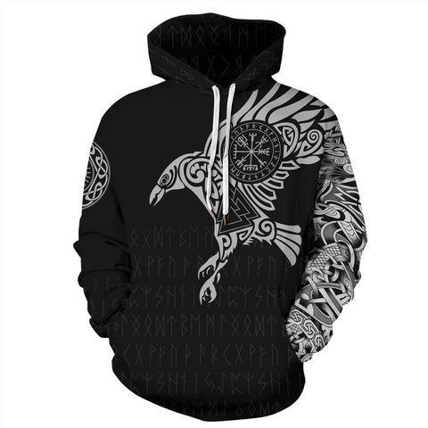 3D Viking Warrior Tattoo FullPrint Hoodie