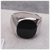 Silver Color Vogue Black Enamel Wedding Skull Rings For Men Anillos