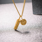 Pill Capsule Titanium Stainless Steel Classic Chain Pendant Necklace