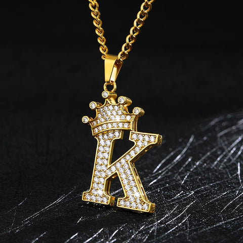 Crystal Zircon Alphabet Pendant Necklace