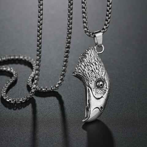 Hip Hop Punk Biker Silver Stainless Steel Chain Large Eagle Hawk Head Pendants Necklace for Men