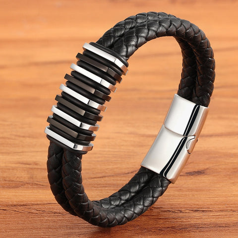 Luxury Double Layer Stainless Steel Leather Men's Bracelet