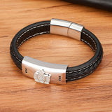 Luxury Classic Cubic Zirconia Men's Leather Bracelet Combination Magnet Buckle