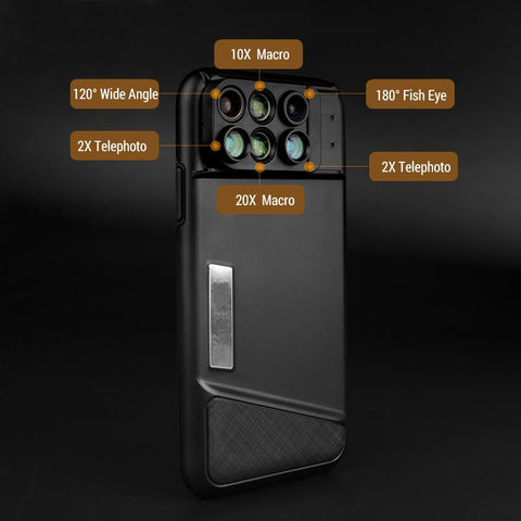 6 in 1 Camera Lens Phone Case For iPhone X