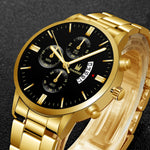 Men Luxury Military Business Quartz Watch Gold Stainless Steel Band