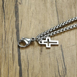 Stainless Steel Double Strand Rolo Chain with Cross Charms Bracelet for Men