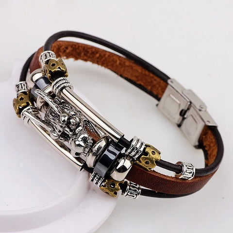 Tibetan vintage parataxis dragon Multilayer leather bracelet for Men
