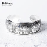 Boho antic silver cuff copper bangle