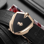 Luxury Cow Leather Men Belt Automatic Alloy Shield Buckle