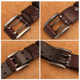 Vintage Mens Genuine Leather Belt Double Pin Buckle