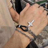 Double Layer Stainless Steel Chain Leather Cross Bracelet