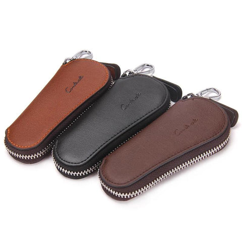 Fashion Men Genuine Cow Leather Bag Car Key Zipper Wallets