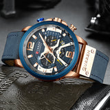 Luxury Leather Strap Quartz Water Resistant Mineral Glass HD Len