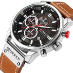 Top Luxury Analog Digital Sport Water Resistant Quartz Wristwatch Leather Strap