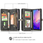 Zipper Multi-Function Detachable Card Wallet Phone Case For Samsung Galaxy S10 S10 Plus S10e S8 S9 + Note 8 9