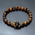 Antique crown High quality Tiger eye stone bead Bracelet