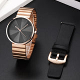 Creative Mens Watch Rose Golden Steel Luxury Quartz