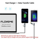 USB Type C Fast Charging 2 in 1 Cable For Samsung S9 S8 S7 Note 8