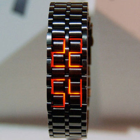Fashion Black Full Metal Digital Lava Wristwatch Iron Metal Red LED Samurai