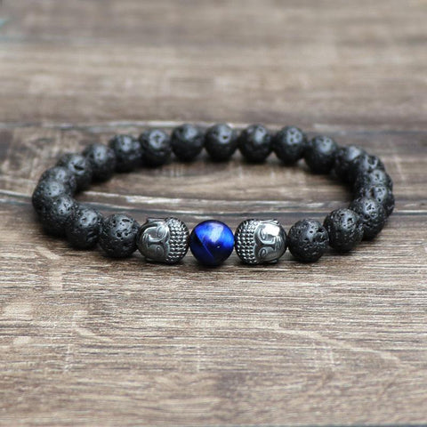 Fashion Bracelets for Men Gift 2018 Energy Volcanic Rock Blue Tiger Stone