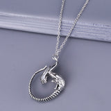 Fashion Jewelry Vintage Charm Antique Silver Alien Pendant Necklace