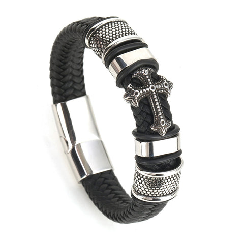 Fashion Punk Genuine Leather Man Cross Bracelet