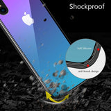 For iPhone X XS Max Gradient Color Tempered Glass Silicone Frame Case