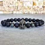 HOT Fashion Spartan Warrior Helmet Lava Stone Beaded Charm Bracelet