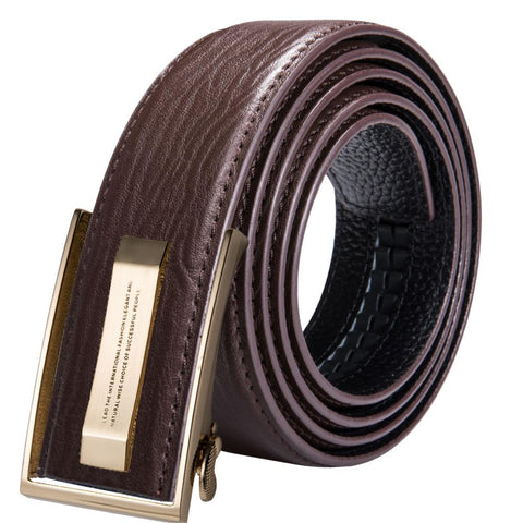 Luxury Fashion Leather Belt for Men Automatic Gold Metal Buckle