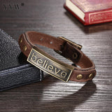 Antique Bronze Color Plated Genuine Top Layer Leather Wrap Vintage Bracelet
