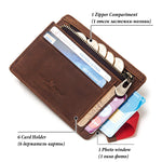 Genuine Leather Thin Zipper Slim Wallet